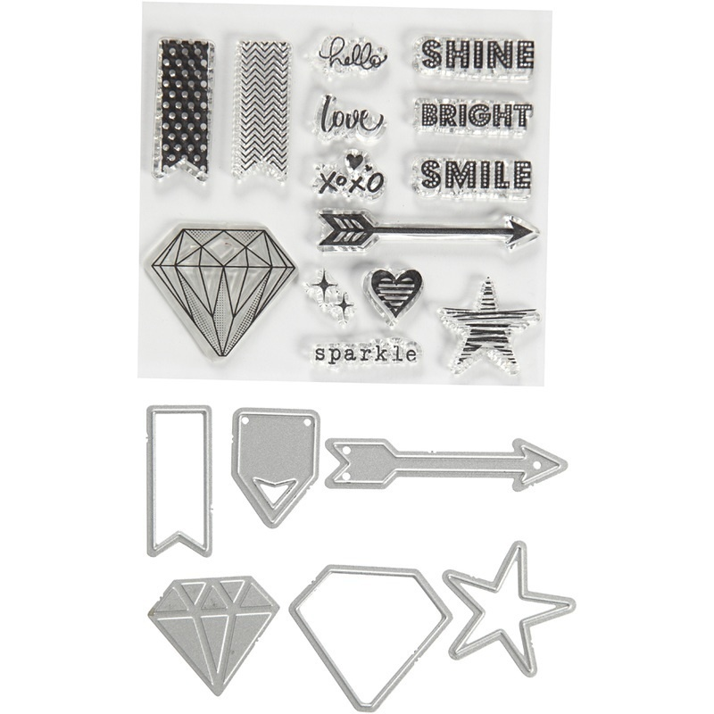 Creativ Company Clear Stamps, Embossing And Cutting Dies, Words And Signs, 1,5-6 Cm, 1 Pack