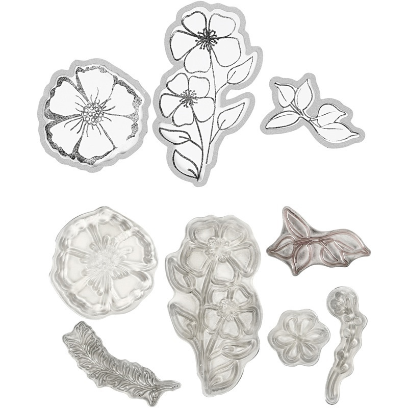 Creativ Company Clear Stamps And Cutting Dies, Flower, 1 Pc