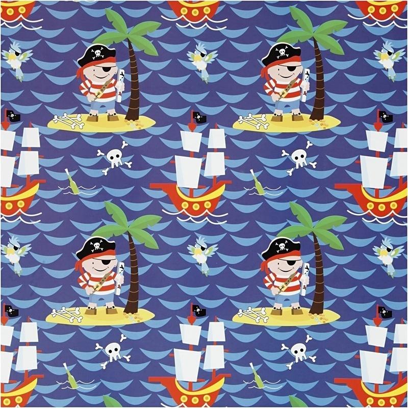 Creativ Company Gift Wrap, Pirates, W: 50 Cm, 80 G, 5 M, 1 Roll