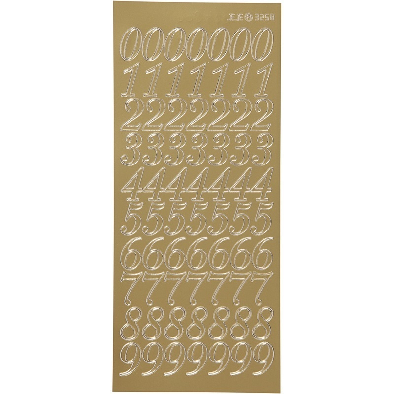 Creativ Company Stickers, Gold, Numbers, 10x23 Cm, 1 Sheet