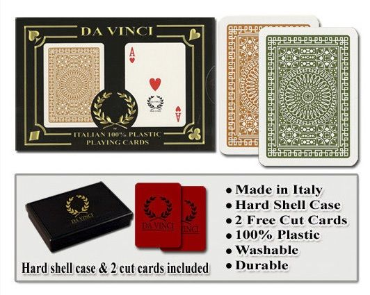 Casino Supply Da Vinci Casino Club Playing Cards: Brown/Green