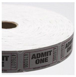 Raffle Tickets - 2,000 Single Stub Admit One Tickets