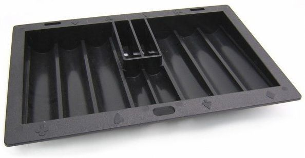 Abs Black Poker Chip Tray With Cardholder (8 Row / 350 Chip)