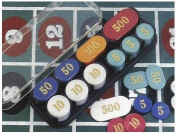 Poker Chips With Rack - Simulated Pearl 200 Pcs