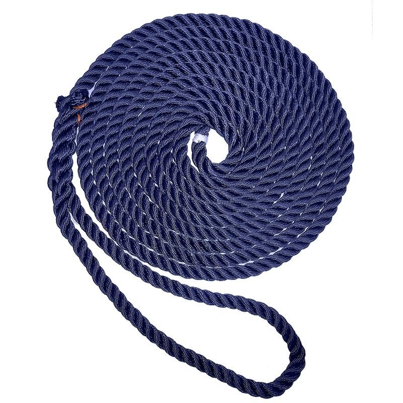 "New England Ropes 5/8"" X 25' Premium Nylon 3 Strand Dock Line - Navy Blue"