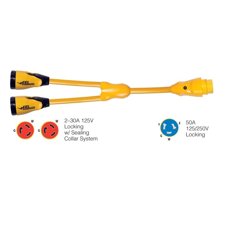 """Marinco Y504-2-30 Eel (2)-30a-125v Female To (1)50a-125/250v Male """"y"""" Adapter - Yellow"""