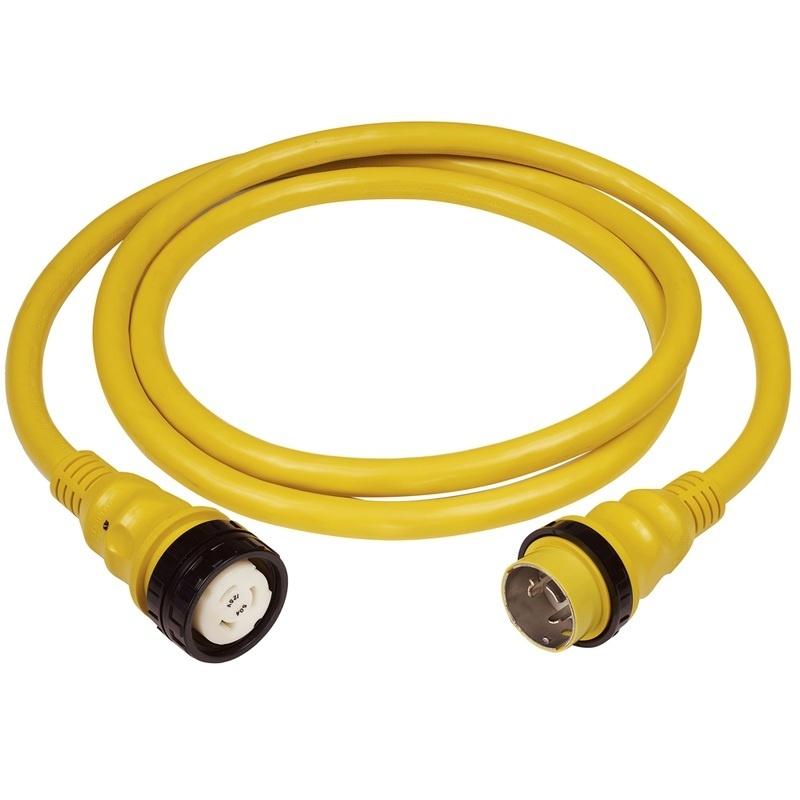 Marinco 50a 125v Shore Power Cable - 25' - Yellow