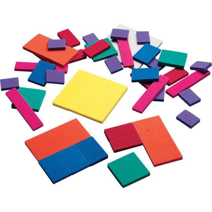 Foam Fraction Squares, Set Of 51 Pcs