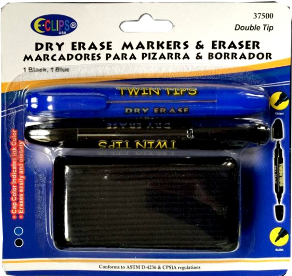 Dry Erase Markers Twin Tips / Eraser