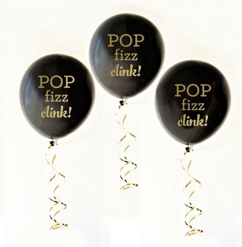 Black & Gold Pop Fizz Clink Party Balloons (set Of 3)