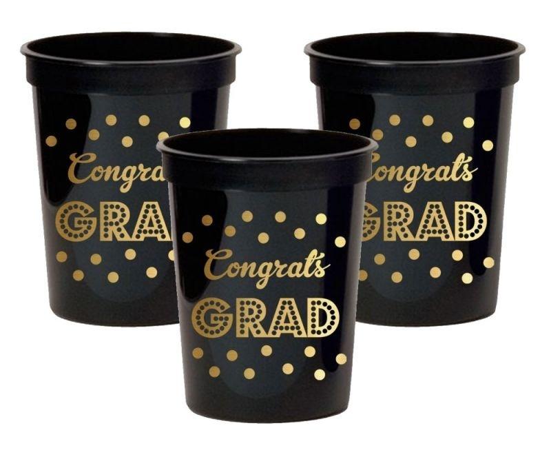 Gold & Black Graduation Party Cups (set Of 25)