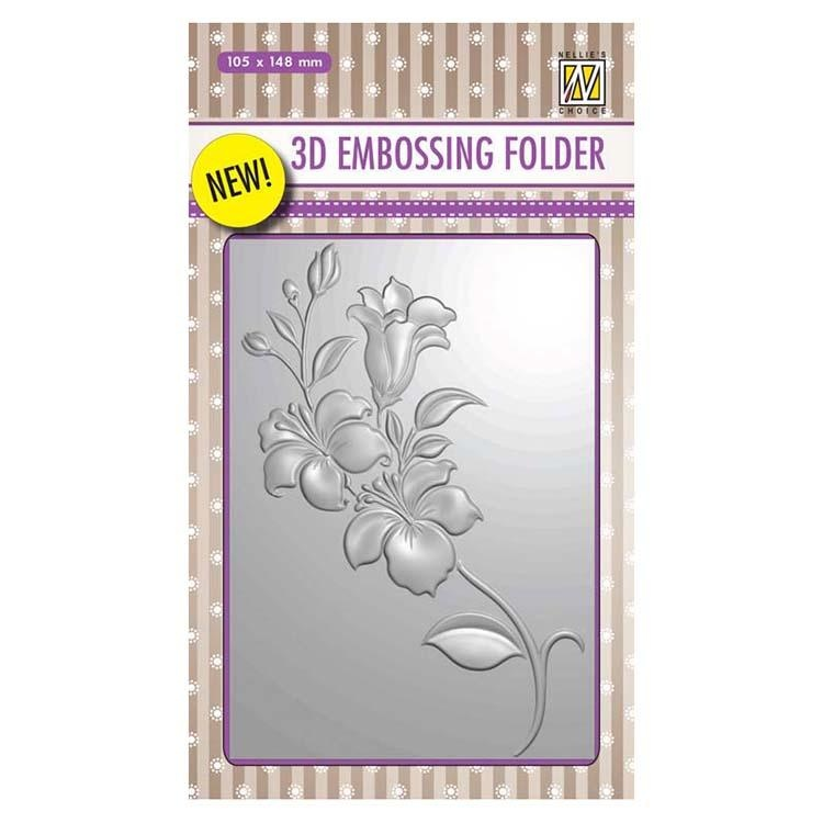 Nellie's Choice 4 X 6 3D Embossing Folder Branch With Flowers