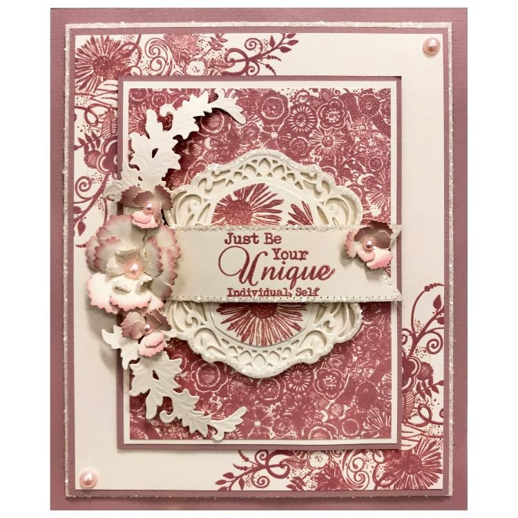 Sentimentally Yours Bohemian Background A6 Rubber Stamp