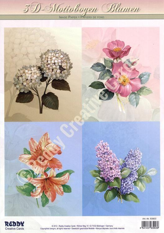 3d Precut - Flowers - 2 Sheets