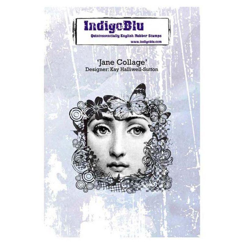 Indigoblu Jane Collage A6 Red Rubber Stamp