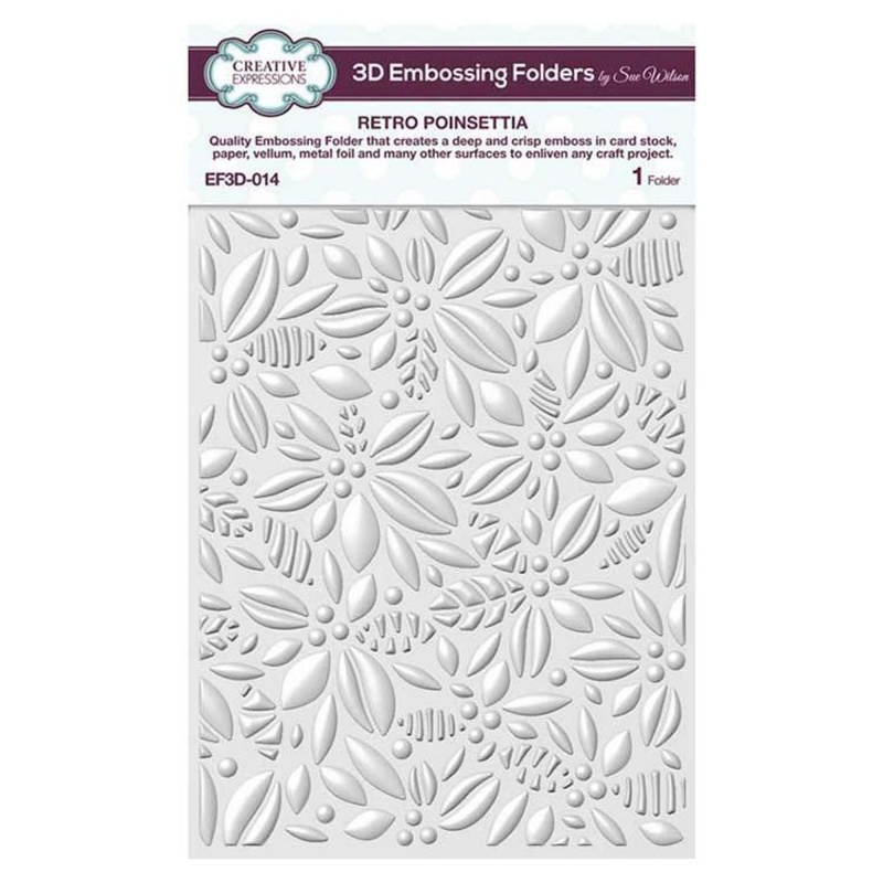 Creative Expressions Embossing Folder 3d 5 3/4 X 7 1/2 Retro Poinsettia