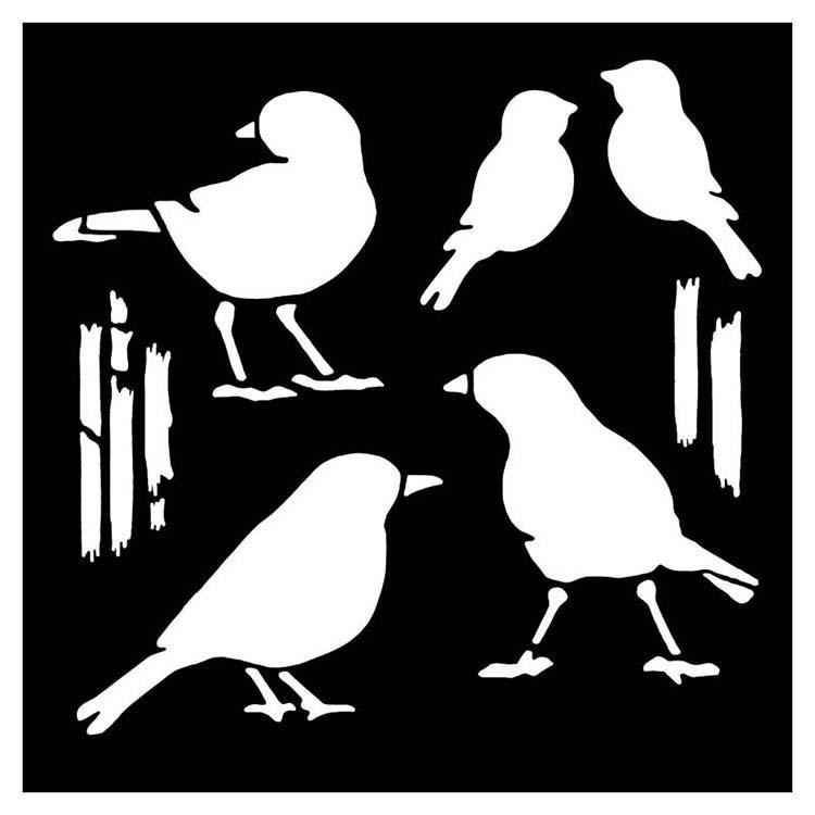 """Woodware 6"""" X 6"""" Stencil Birds"""