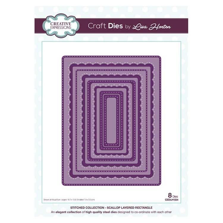 Creative Expressions Stitched Collection Scallop Layered Rectangle