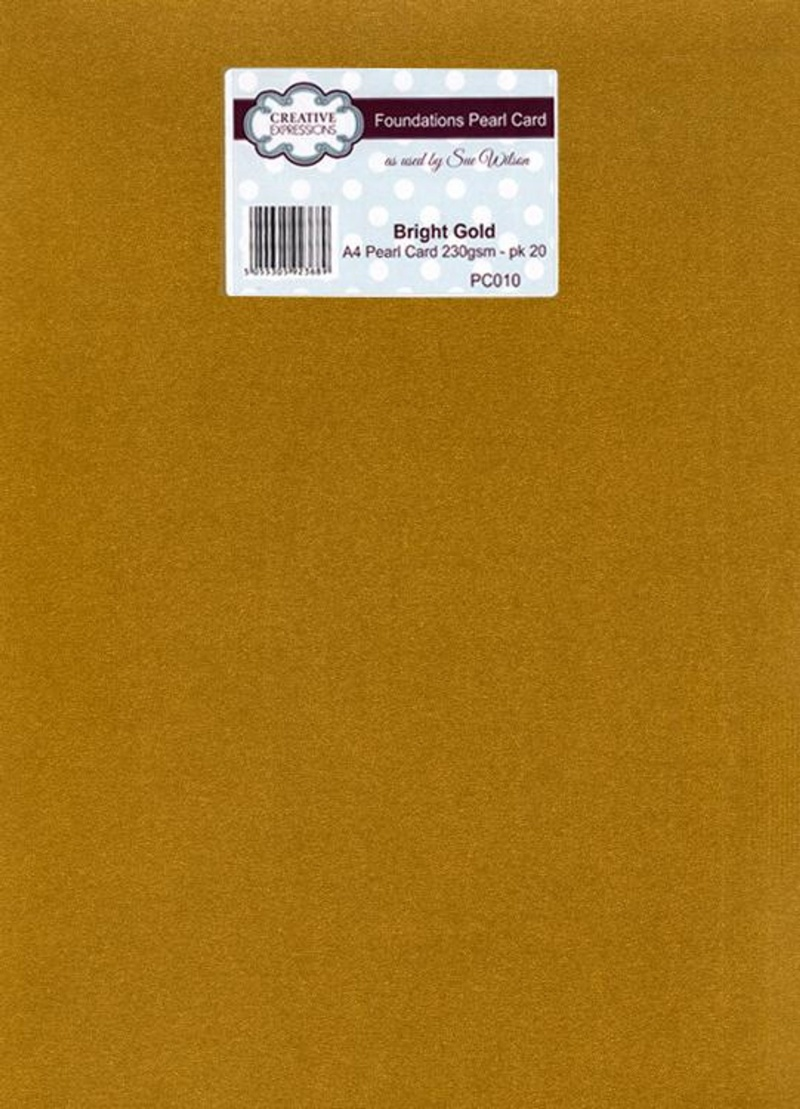 Foundation A4 Pearl Cardstock 230gsm Pk 20 - Bright Gold