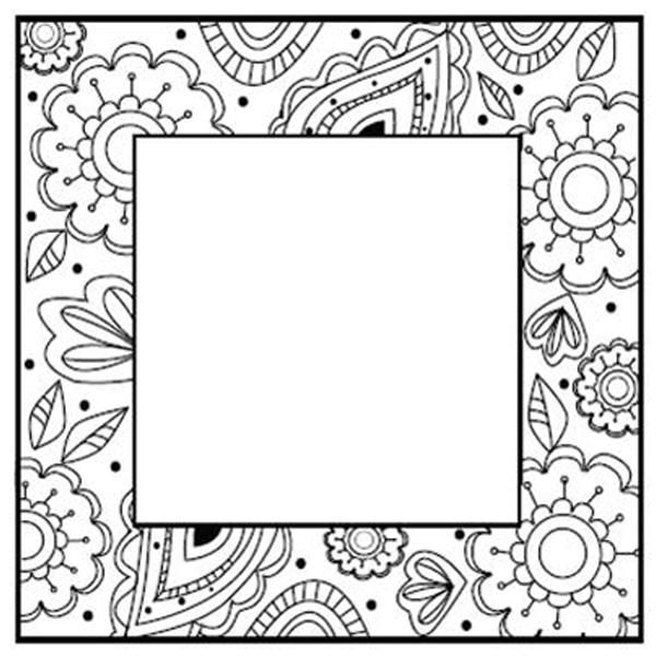 Foam Mounted Cling Stamps - Zentangles Flower Square