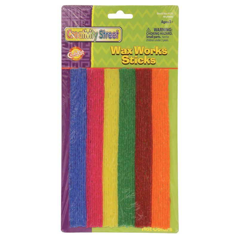 Wax Workssticks Assorted Hot Colors 8in 48 Pieces