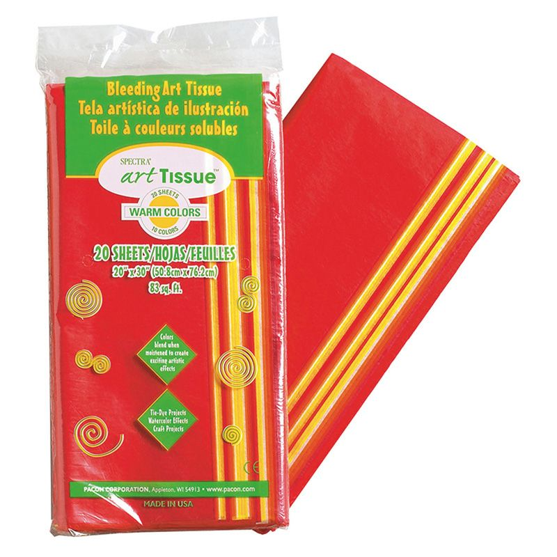 Bleeding Art Tissue 10 Color Warm Assortment 20 Sheets 20X30