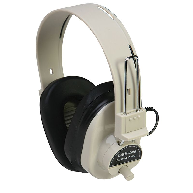 Deluxe Mono Headphone Fixed Coiled Cord W/ Volume Control