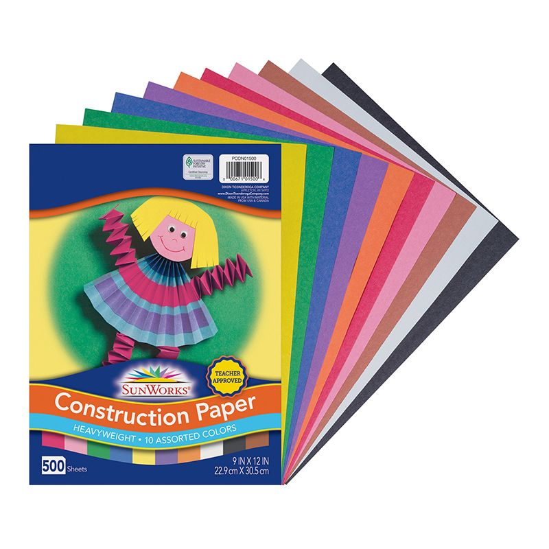 Construction Paper 10 Colors 9x12 500 Sheets