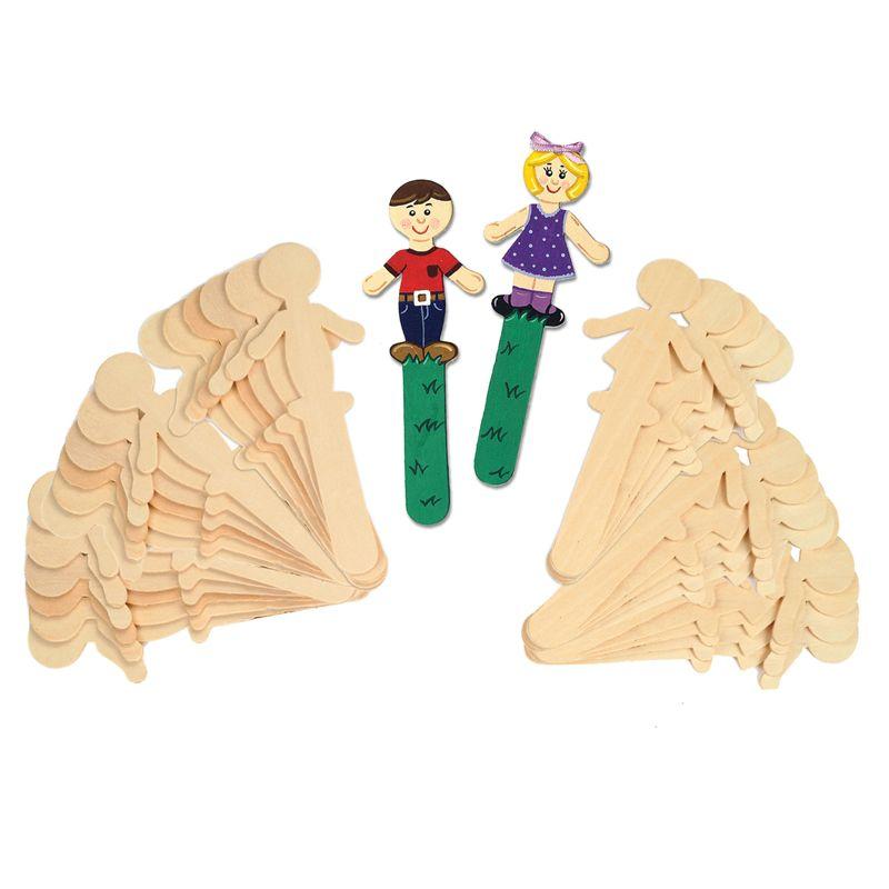 People Shaped Wood Craft 36 Pcs Sticks 18 Each