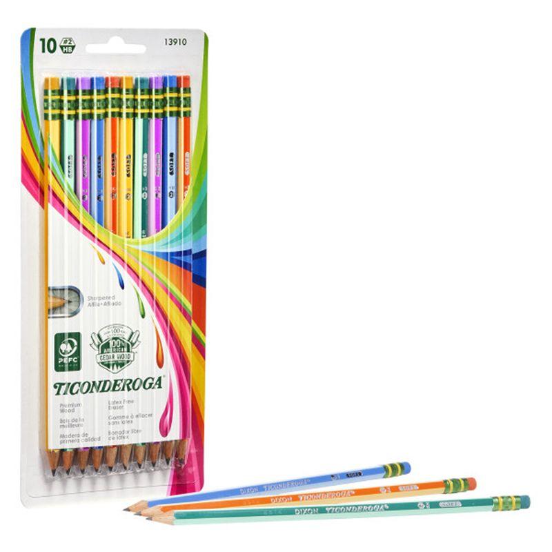 Pencils No 2 Soft Neon Stripes 10pk Ticonderoga Presharpened