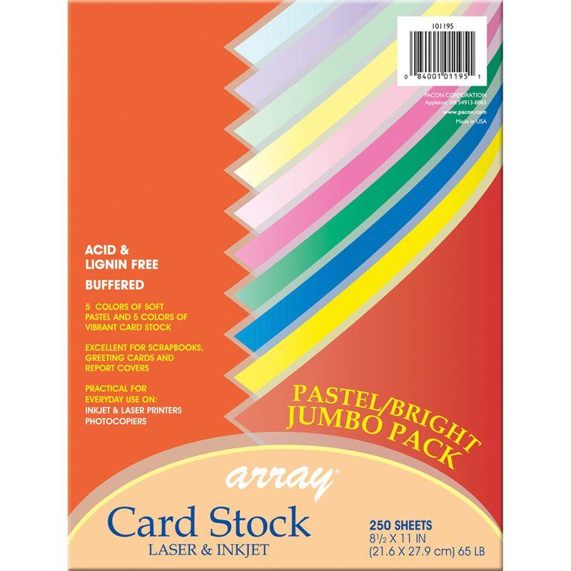 Pastel & Bright Card Stock Assrtmnt 250 Sheets