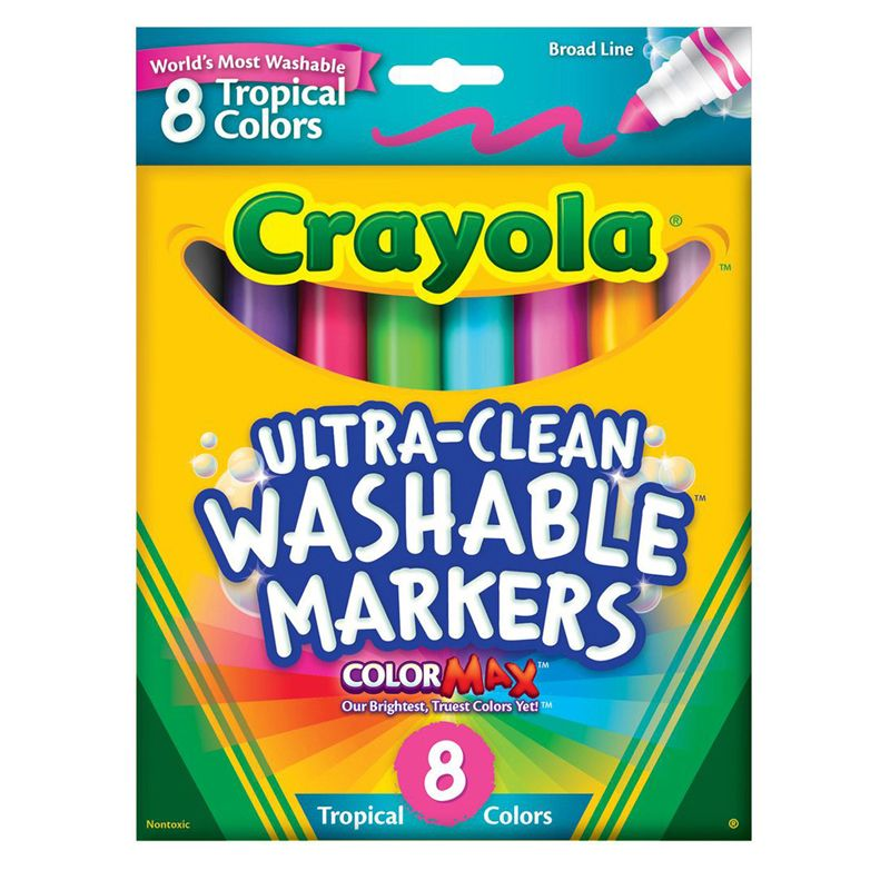 Washable Markers 8 Pk Tropical Colors Conical Tip
