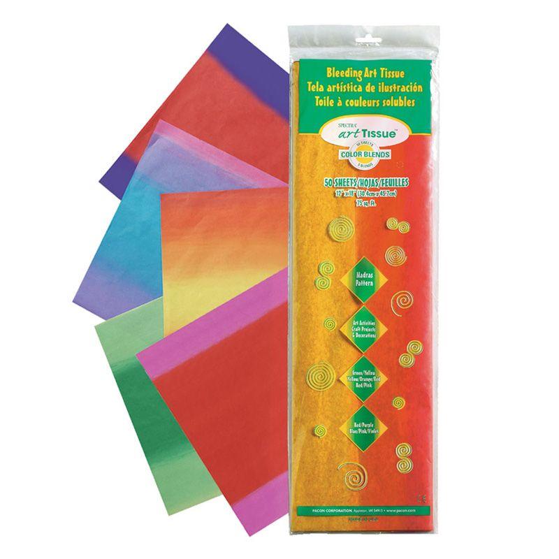 Bleeding Art Tissue 5 Color Madras Pattern Assortment Sheets 12X18 50