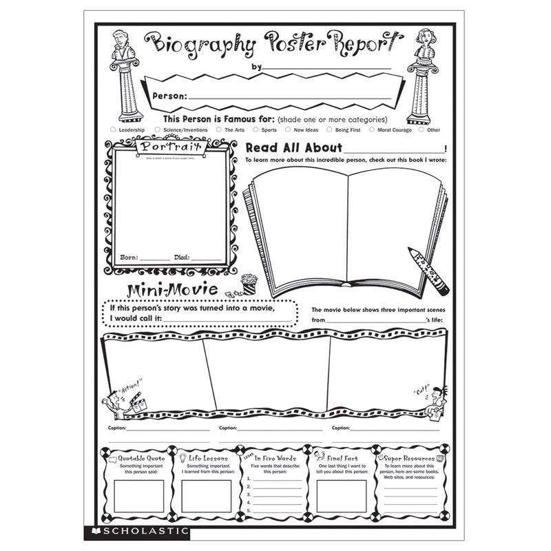 Instant Personal Poster Sets Biography Report