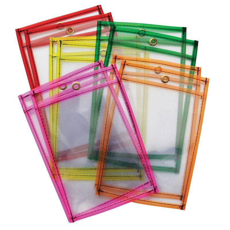 Dry Erase Pockets 5 Neon Colrs 10pk