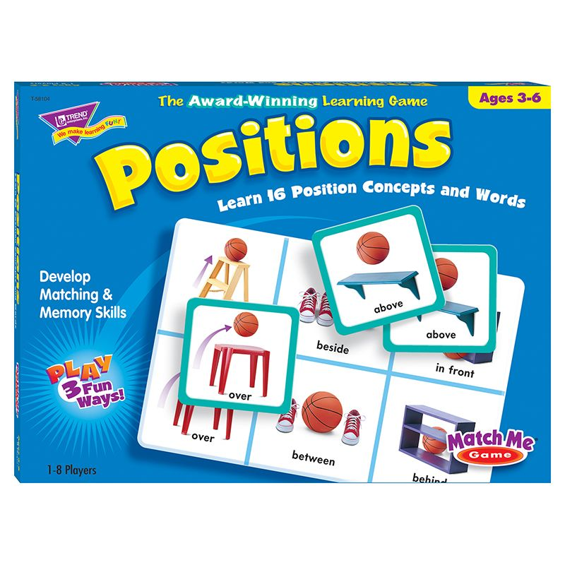 Match Me Game Positions Ages 3 & Up 1-8 Players