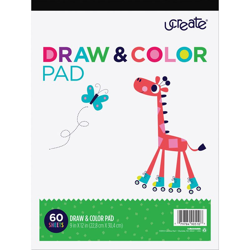 Draw & Color Pad White 9x12 60 Shts