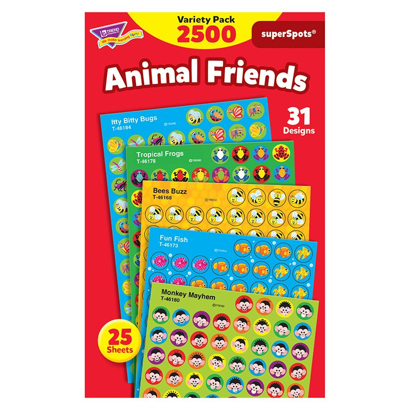 Animal Friends Variety Pk Super Spots/Shapes Stickers