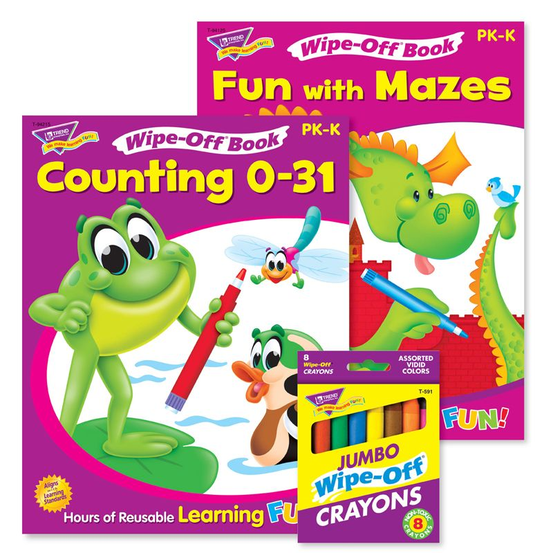 Counting & Mazes Reusable Books & Crayons