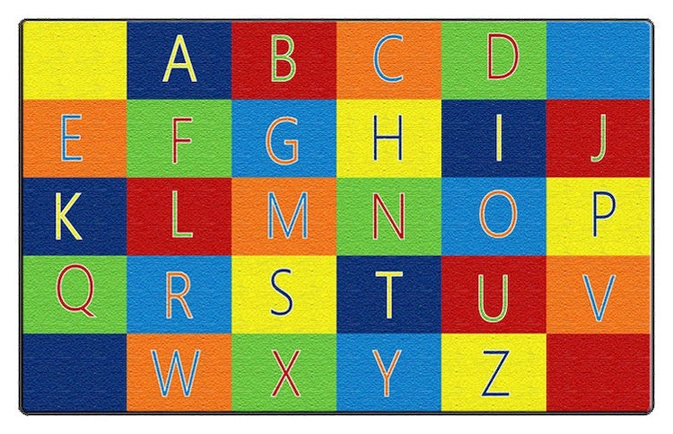 """Alphabet Seating (7'6x12 Rug And Set Of 26 Sq.) 7'6x12 & 16""""x16"""""""