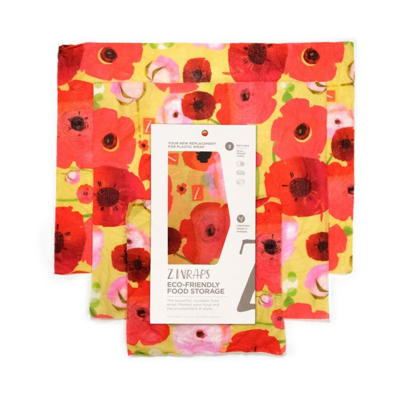 Z Wraps 3- Pack Beeswax Wrap, Painted Poppies Print