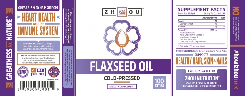 Zhou Flaxseed Oil 100 Count
