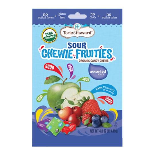 Torie & Howard Sour Assorted Fruit Flavors Gluten-free Organic Chewie Fruities 4 Oz. Resealable Bag
