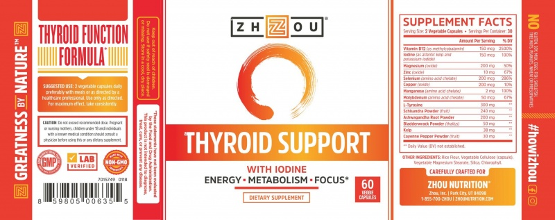 Zhou Thyroid Support With Iodine 60 Count