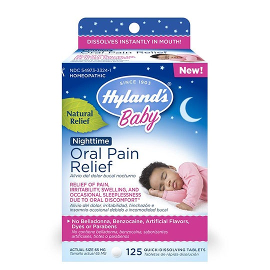 Hyland's Baby Nighttime Oral Pain Relief Tablets 125 Quick Dissolving Tablets