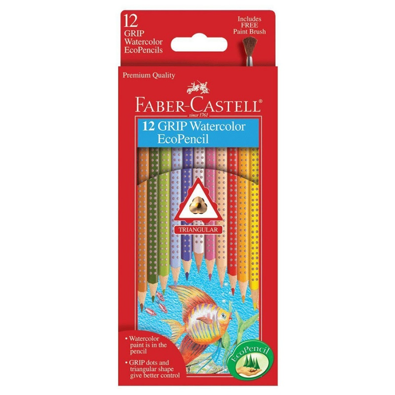 Faber Castell Grip Triangular Water Color Ecopencils 12 Count