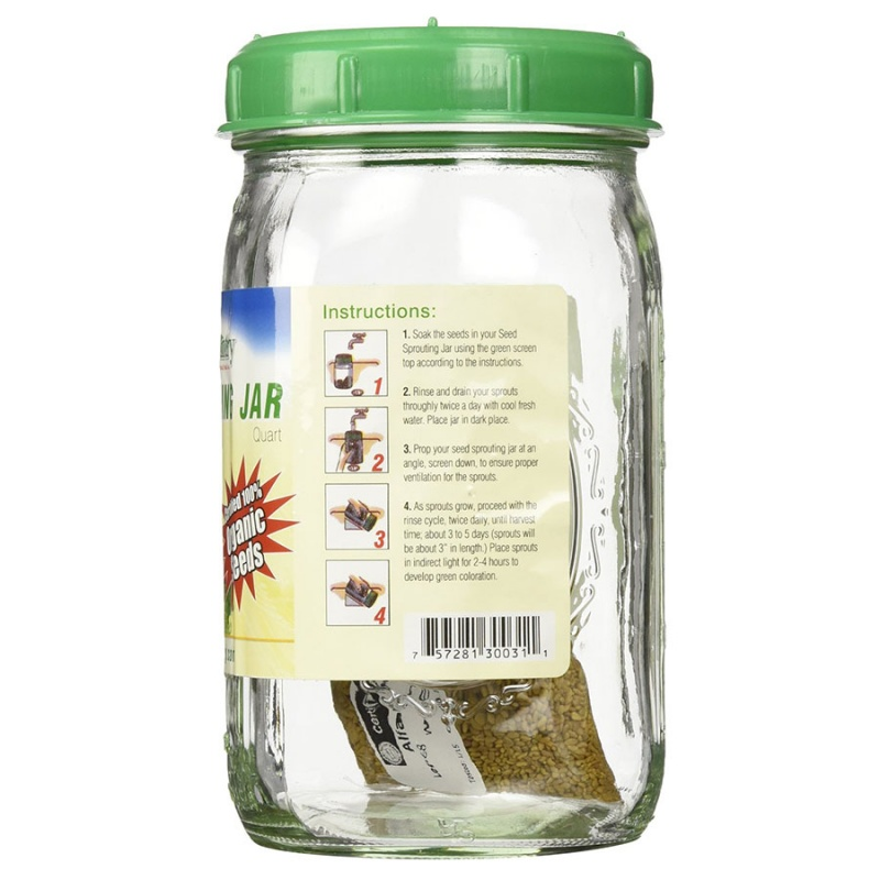 Handy Pantry Glass Seed Sprouting Jar Quart