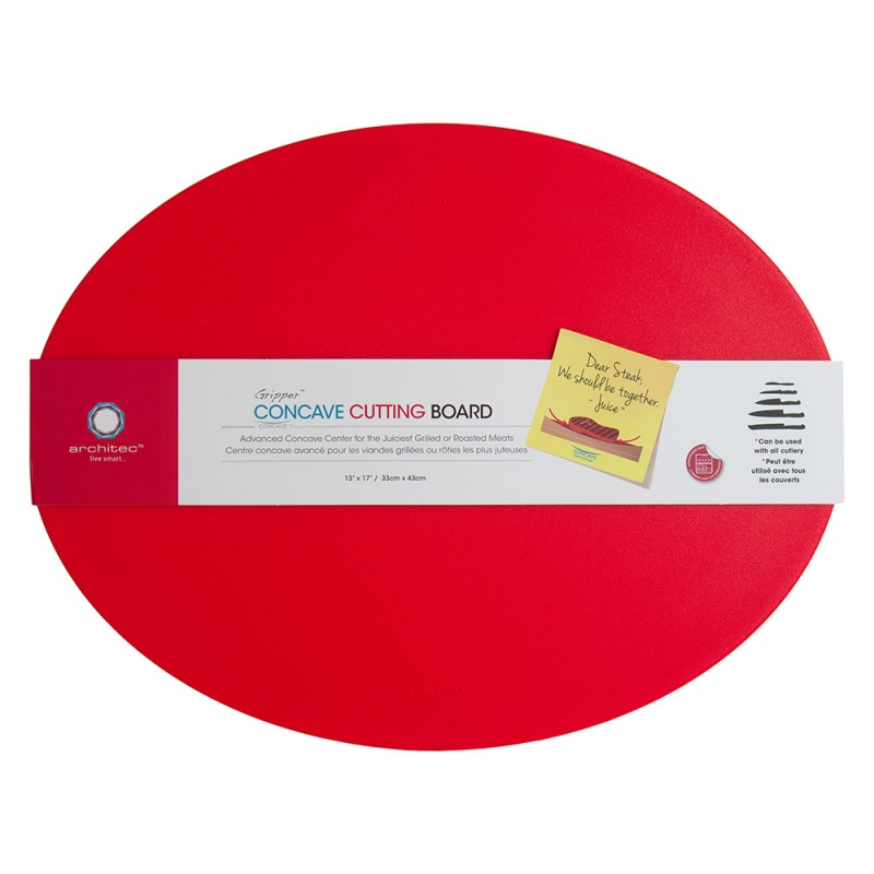 Eco Smart Red Poly Concave Cutting Board 13 X 17