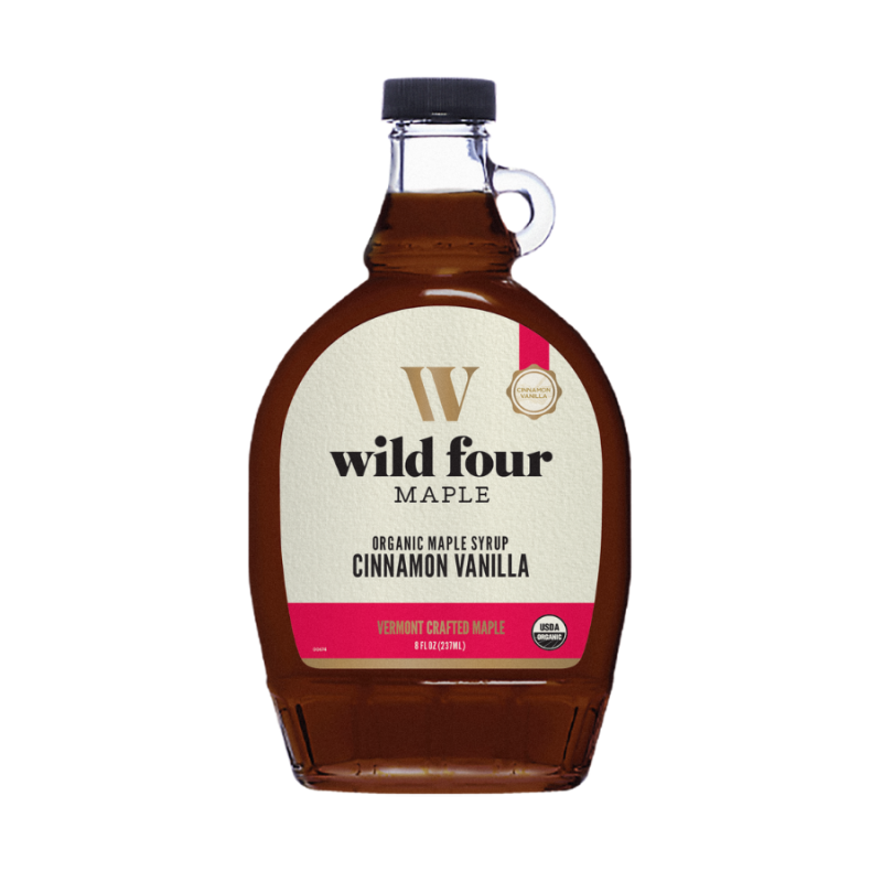 Wild Four Cinnamon Vanilla Infused Organic Maple Syrup 8.45 Oz