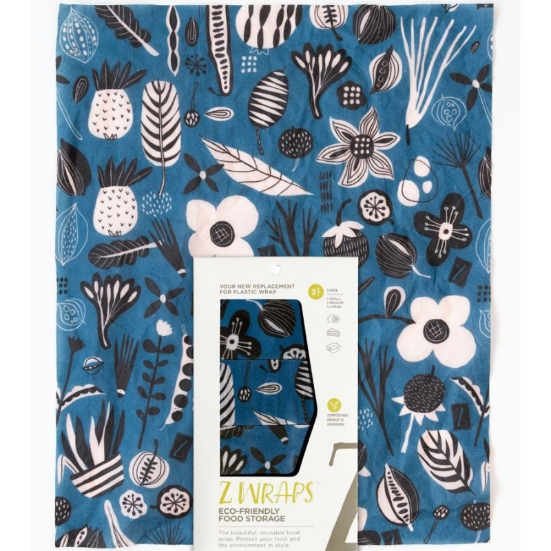 Z Wraps 3- Pack Beeswax Wrap, Petals And Pods Print